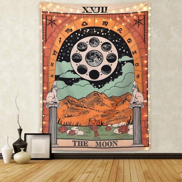 The MOON Tarot Card Boho Wall Tapestry SMALL Boutique